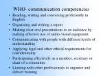 who communication competencies