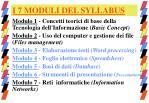 i 7 moduli del syllabus