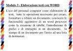 modulo 3 elaborazione testi con word