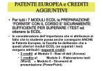 patente europea e crediti aggiuntivi
