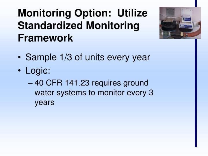 Monitoring Option:  Utilize Standardized Monitoring Framework