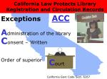 california law protects library registration and circulation records