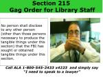 section 215 gag order for library staff
