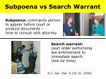 subpoena vs search warrant