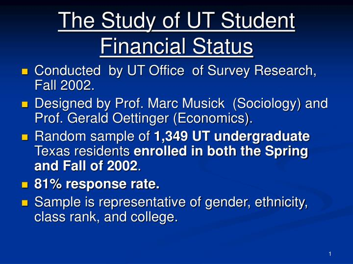 the study of ut student financial status n.