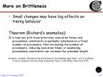 more on brittleness