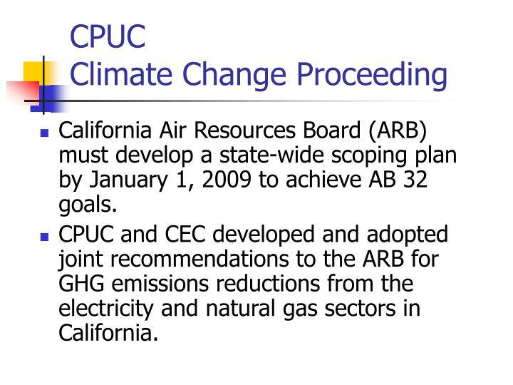 cpuc climate change proceeding n.