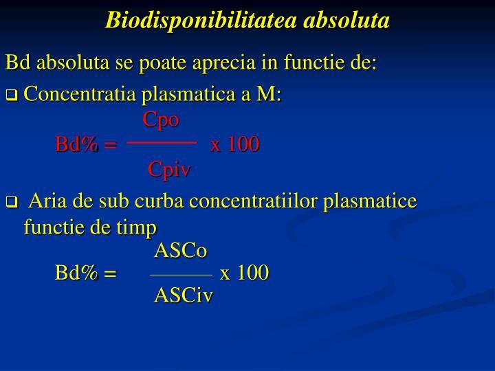 Biodisponibilitatea absoluta