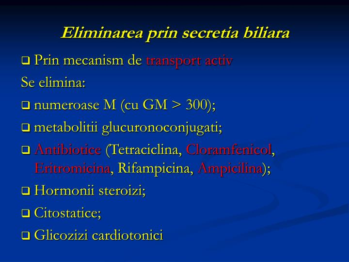 Eliminarea prin secretia biliara