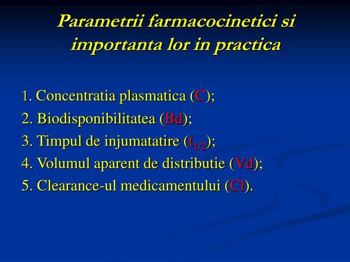 Parametrii farmacocinetici si importanta lor in practica