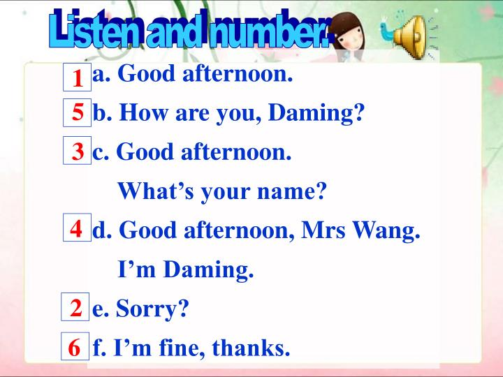 Listen and number.