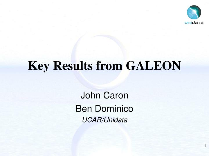 key results from galeon n.