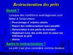 restructuration des pr ts