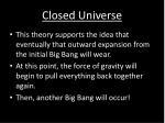 closed universe