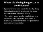 where did the big bang occur in the universe