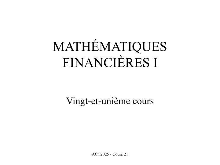 math matiques financi res i n.