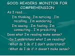 good readers monitor for comprehension