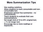 more summarization tips