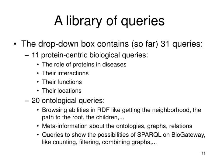 A library of queries