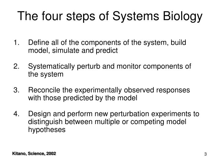 The four steps of systems biology