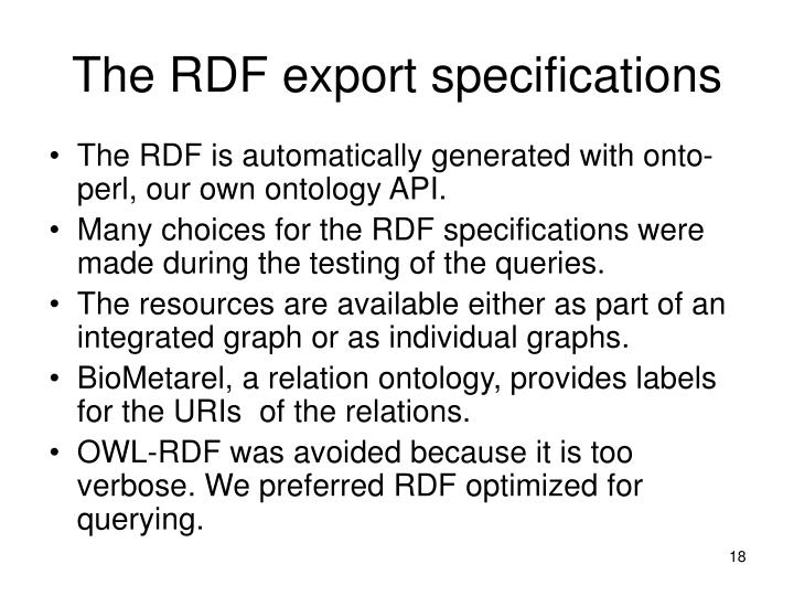 The RDF export specifications