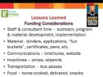 lessons learned funding considerations