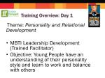 training overview day 1