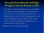excerpts from metcalf and eddy design of sewers volume i 19141