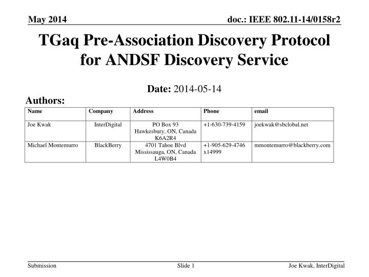 tgaq pre association discovery protocol for andsf discovery service n.