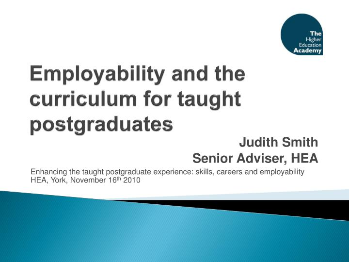 employability and the curriculum for taught postgraduates n.