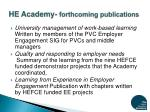 he academy forthcoming publications