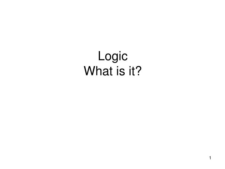 logic what is it n.