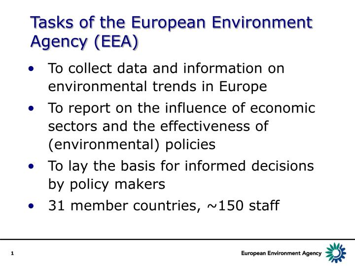 tasks of the european environment agency eea n.