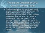 the future orientation of a church planting team2