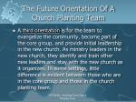 the future orientation of a church planting team4