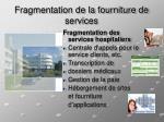 fragmentation de la fourniture de services