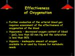 effectiveness of oxygenation