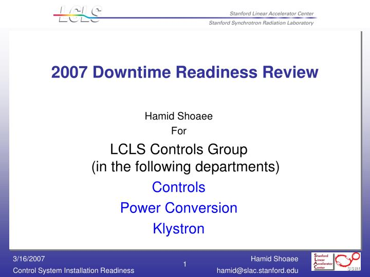 2007 downtime readiness review n.