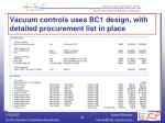 vacuum controls uses bc1 design with detailed procurement list in place
