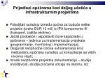 prijedlozi op inama kod daljeg u e a u infrastrukturnim projektima