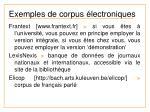 exemples de corpus lectroniques