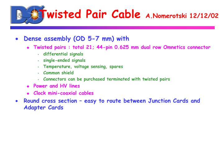 twisted pair cable a nomerotski 12 12 02 n.