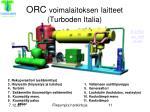 orc voimalaitoksen laitteet turboden italia