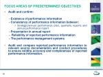 focus areas of predetermined objectives