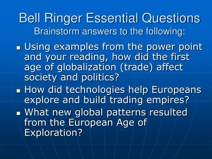 Bell Ringer Essential Questions