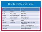 next generation transition