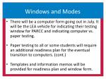 windows and modes