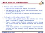 orbit apertures and collimation