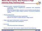 where we re going new physics in high intensity ring tracking code