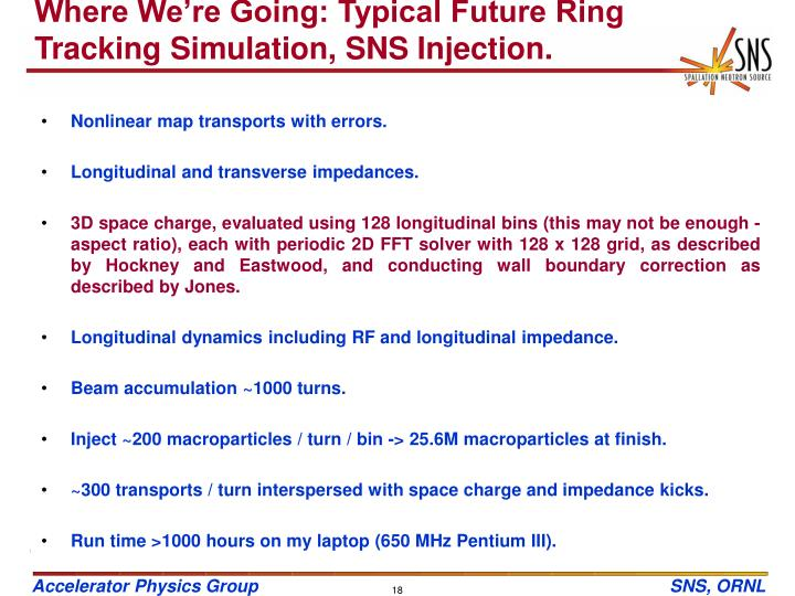 Where We're Going: Typical Future Ring Tracking Simulation, SNS Injection.